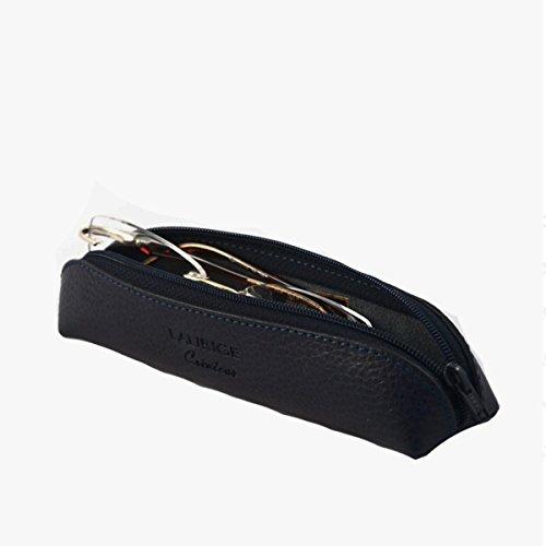 Mini portefeuille en cuir – Stylo/maquillage/porte applicateur par Laurige – Aubergine – Parent