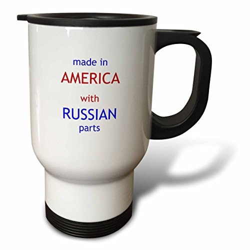 3dRose Made in America with Russian Parts-Travel Mug, 14 Oz, Stainless Steel, Natural, 8.57 x 11.83 x 15.24 cm