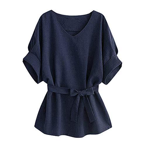 n, Frauen V-Ausschnitt Selbst Tie Kurzarm Bluse Tops T-Shirts ()
