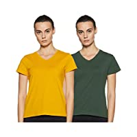 Amazon Brand - Symbol Women's Solid Regular Fit Half Sleeve T-Shirt (SYMAW19VN03_Olive & Mustard_Large) (Combo Pack of 2)