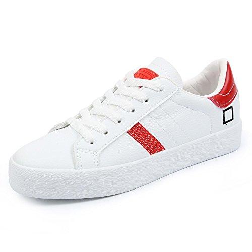 Heart&M Damen Low Top flache Unterseite Lace-Up beiläufige Segeltuch Athletisch Skate-Schuh-Turnschuhe white red