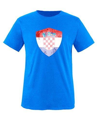 Comedy Shirts - Kroatien Trikot - Wappen: Groß - Wunsch - Kinder T-Shirt - Royalblau/Weiss Gr. 152-164