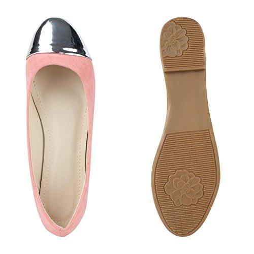 Klassische Damen Ballerinas Lederoptik Flats Basic Slipper Rosa Silber