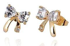 Idea Regalo - Placcato oro 18K orecchini per donne o ragazze piccoli zirconi bianchi fiocchi E747