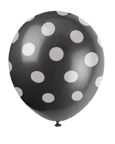 Unique Party Paquete de 6 Globos de látex a Lunares, Color Negro, (57590)