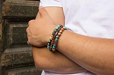 Bracelet Cadeau pour elle 3in1 Turquoise Bracelet pour hommes Bracelet pour femmes Pierre naturelle Cadeau pour lui Élastique