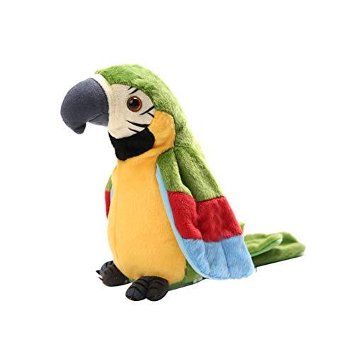 0Miaxudh Sprechender Papagei Spielzeug Neuheit Lustige Plüsch wiederholen Winken Flügel Interaktives Kinder Spielzeug Green