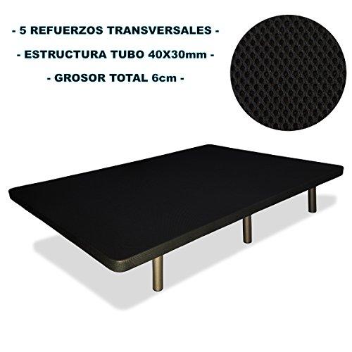 Base-tapizada-6-patas-cilndricas-metlicas-5-REFUERZOS-TRANSVERSALES-TUBO-40x30-MM-TEJIDO-3D-TRANSPIRABLE-90x190CM-6CM-GROSOR-Color-negro