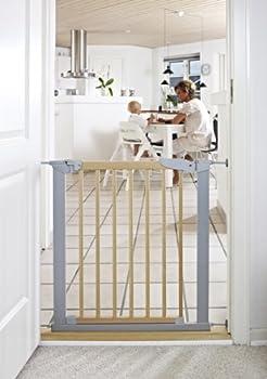 Baby Dan Avantgarde Barrière à Fixation par Pression pour Porte/Escalier Hêtre/Argent 71,3 - 77,6 cm