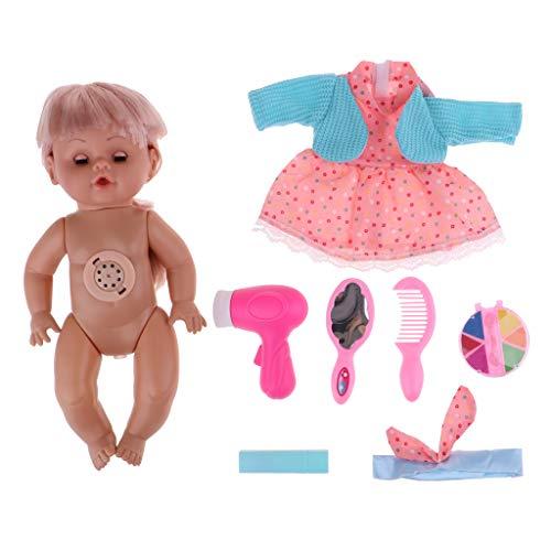 P Prettyia Lebensechte Baby Puppe Mit Fütterung Zubehör Set für Kinder Rollenspiel - D - 7pcs -