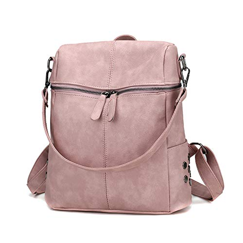 Ohyoulive PU Leather Backpack - Women Backpack Waterproof Anti-Theft Lightweight PU Fashion Leather Nylon School Shoulder Bag Travel Cute Backpack Girls Ladies for School Travel