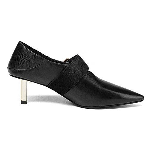 Femmes Pointu Doigt de pied Mince Milieu Talon Doux Cuir Pompes Glisser sur Tribunal Chaussures Noir rouge Fête Robe Boîte de nuit Black