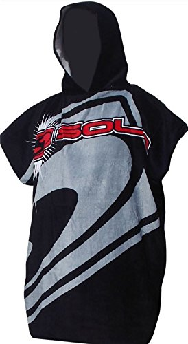 Adulti con cappuccio Beach Modifica Robe Beach Poncho asciugamani Nuoto Surf (Sola Adult Black/Grey 90cm)
