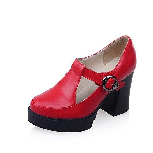 VogueZone009 Femme Boucle Fermeture DOrteil Rond à Talon Haut Pu Cuir Couleur Unie Chaussures Légeres Rouge