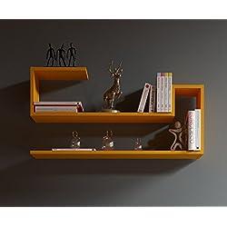 WAVE Étagère murale - Orange - étagère à livres pour décoration de salon en bois dans un design moderne …