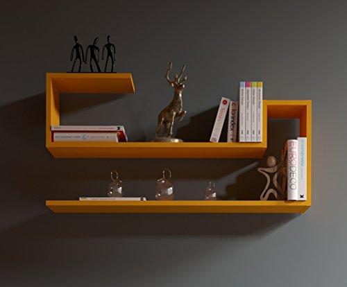 WAVE Étagère murale - Orange - étagère à livres pour décoration de salon en bois dans un design moderne ...