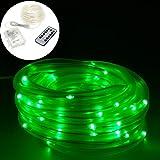 Smartfox 12m LED Lichterschlauch Leuchtdraht batteriebetrieben 8 Leuchtmodi und Fernbedienung für Innen Außen IP44 in grün