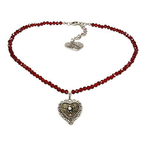 n-Trachtenkette Trachtenherz - nostalgischer Damen-Trachtenschmuck mit Strass-Herz bicolor-farben, filigrane Dirndlkette rot DHK184 (Herz Trachten Schmuck)