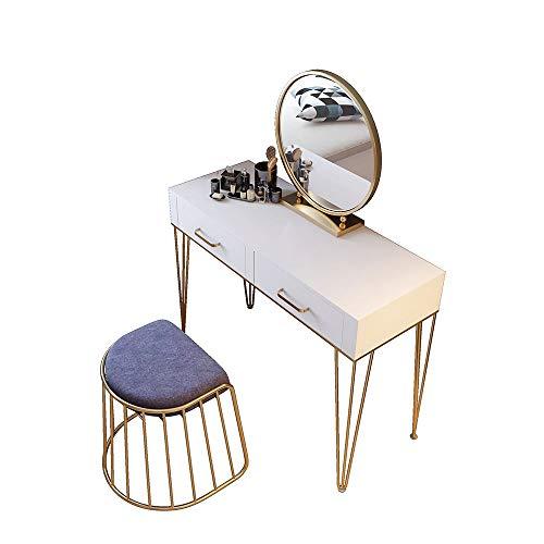 Tocadores Vanidad de hierro Juego de mesa con espejo y taburete de espuma tipo de maquillaje Tocador...