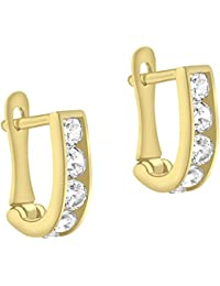 Carissima Gold Women's 9 ct Yellow Gold 10 x 2 mm Cubic Zirconia Half Hoop Earrings