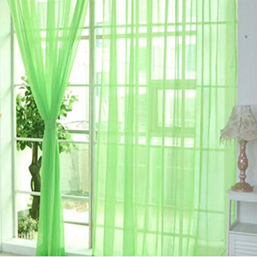 Prinbong Fashion Simple Solid Color Tulle Door Window Curtain Washable Drape Panel Sheer Scarf Valances Translucent Design -