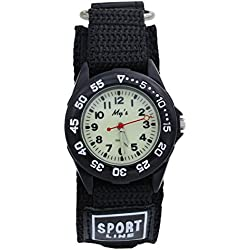 Affute Sports Waterproof Gift Watch with Canvas Nylon Strap Light Luminous for Boy Girl Kids Student (Black)