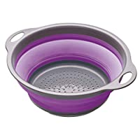 KitchenCraft Colourworks 2.8 L Collapsible Colander, 24 cm - Purple