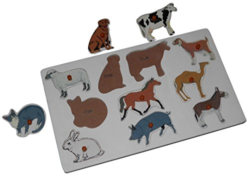 Kido Toys - Name the Pet Animals - Wooden Knobbed Jigsaw Puzzle Insert Board
