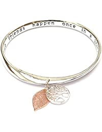Equilibrium Silver Plated Message Disk Loop Bangle 18