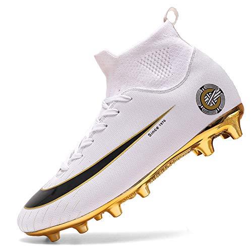 Scarpe da ginnastica con tacchetti alti, professionali, per sport agonistico, da uomo, per calcio, atletica, (8 bianco j ag), 42 2/3 eu