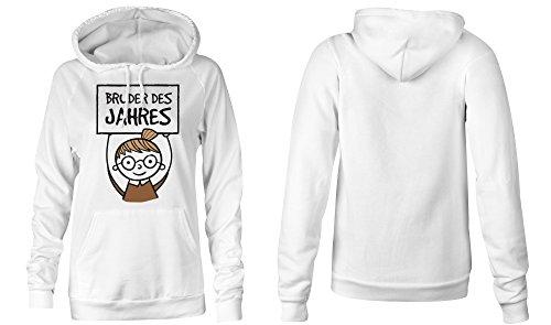 Bruder des Jahres �?Hoodie Kapuzen-Pullover Frauen-Damen �?hochwertig bedruckt mit lustigem Spruch �?Die perfekte Geschenk-Idee (02) weiss