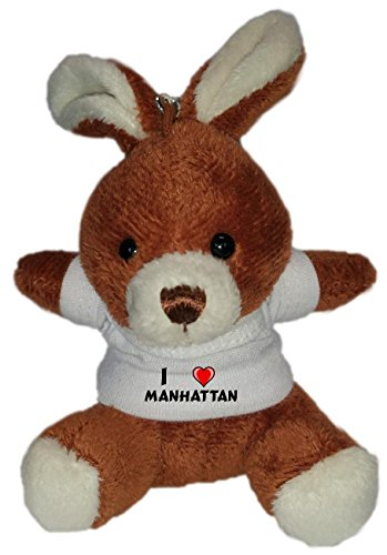 Plush Bunny Keychain with I Love Manhattan (first name/surname/nickname)