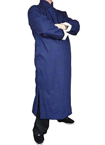 Handgemachte Blauer KungFu Tai Chi Langer Mantel Aus Premiumleinen von Maßschneider #103 Blau