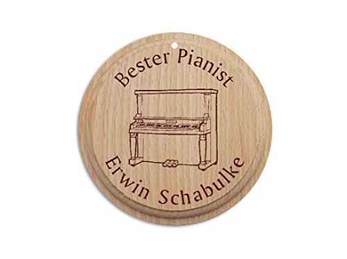 Holzmedaille « BESTER PIANIST 01 » inkl. pers. Gravur - Jubiläum Medaille Klavier Komponist Musiker