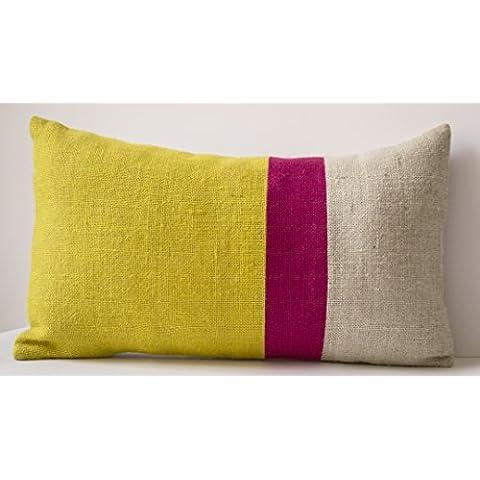 Amore Beaute hecho a mano amarillo cojín, cojín de yute color de la cubierta Block- amarillo fucsia decorative cushion, primavera cojín, rectangular funda cojín cojín Sunshine Covers- colorido cojín, regalos, Yellow , Fuchsia, 30 x 50