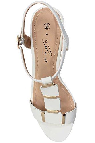 ZAFFIRO BOUTIQUE JLH848 Julia Donna Finiture In Oro cinturino a T Fionda Cinturino Sul Retro A blocco Sandali Con Tacco Bianco