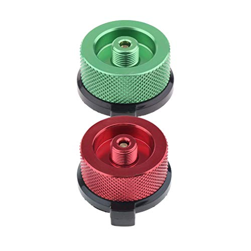Almencla 2 Farbe Campingkocher Anschluss Gas Refill Adapter Eingangsschraube Typ, Lindal Typ Ventil, Material Zinklegierung -