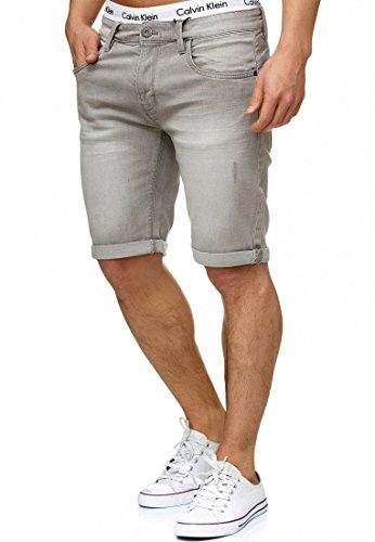 Indicode Herren Caden Jeans Shorts Kurze Denim Hose mit Destroyed-Optik aus Stretch-Material Regular Fit Lt Grey L - Adidas-stretch-shorts
