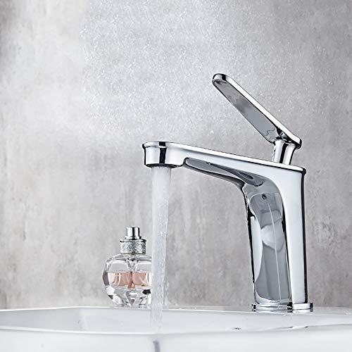HDLWIS Einhand-Bad-Waschtischarmatur, heißes und kaltes Wasser Waschtischarmatur Bad Wasserhahn Deck Mount Wasserhahn