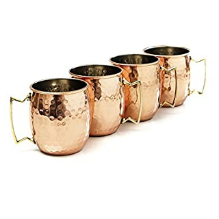 AVS STORE ® Handmade Pure Copper Hammered Moscow Mule Mug Lined With Nickle (4) by AVS STORE ®
