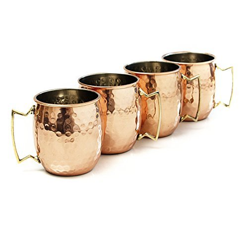 Handcrafted Hammered Moscow Mule Solid Copper Mug / Cup, 16 Ounce, Set of 4 by Maithil Art