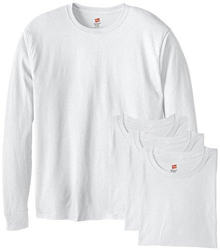 Hanes Mens Tagless ComfortSoft Long-Sleeve T 4PK White