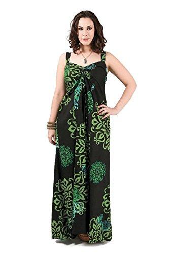 citydress24 - Robe - Trapèze - Femme Noir Noir 44 Vert