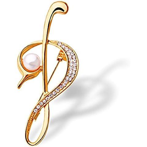 Yc Top Fashion nota musicale con Zirconia cubica e perla,