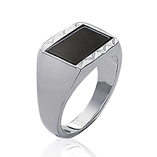ISADY - Lennox - Herren Ring Damen Ring - 925er Sterling Silber - Imit. Onyx Schwarz - T 68 (21.6)