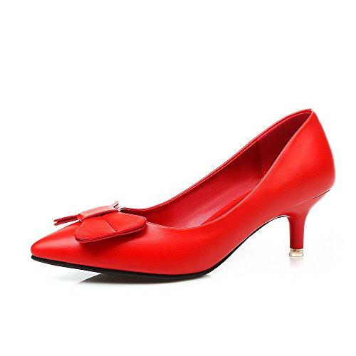 AllhqFashion Femme Tire Pointu à Talon Correct Couleur Unie Chaussures Légeres Rouge