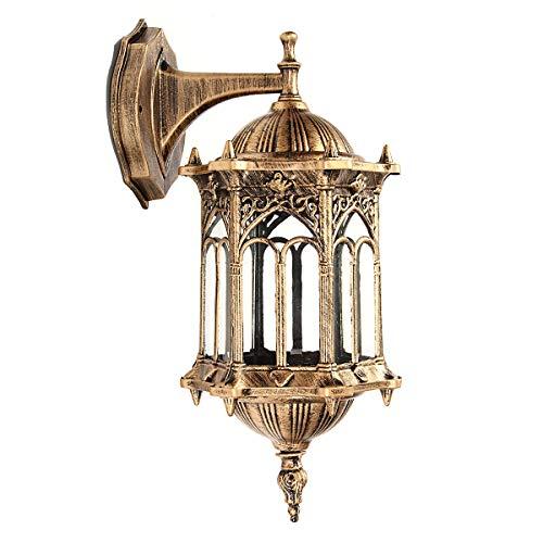 KING DO WAY Vintage Applique Lampe Lanterne Murale Eclairage Mural En Metal Verre E27 220V 30W Decoration Interieur Exterieur Jardin Balcon Wall Lamp (Sans Ampoule)