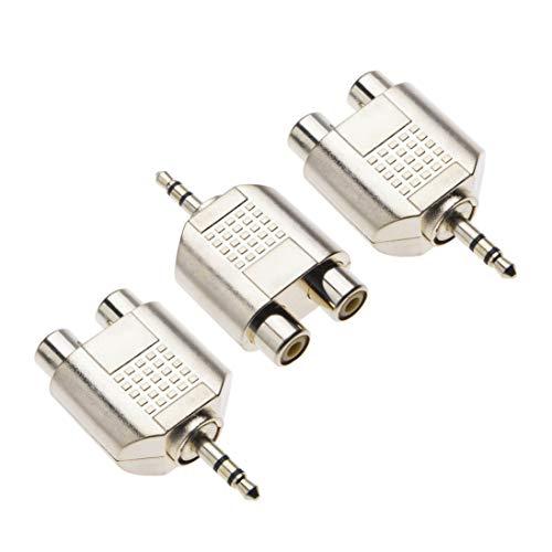 Klinke auf Cinch Adapter Von Keple, Klinke 3,5mm zu 2x Cinch Y Audioadapter, AUX 3 5 mm Stereo Klinke auf 2 RCA Adapterstecker, Vergoldet Metall Phono Stecker (3 Stück)