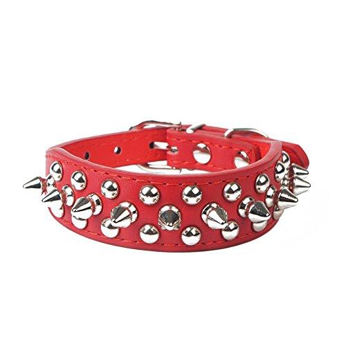 ED express Ed Pilze Spikes Nieten Verstellbar PU Leder Pet Halsbänder für Katzen Puppy Dogs, S, Rot