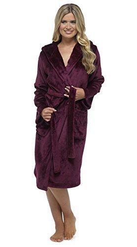 Damen Einfarbig Weich Plush Fleece Mit Kapuze Bademantel Rot